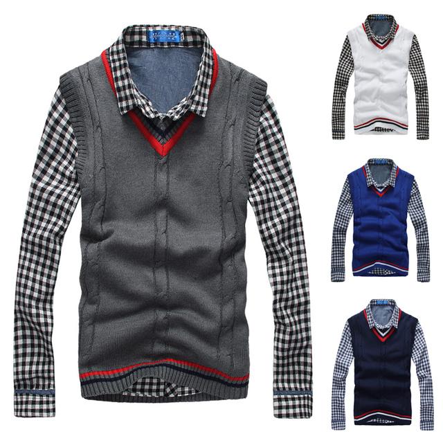 2016 nuevo v-cuello ocio Shag línea de la cabeza Polo suéteres jerseys hombres de la ropa del suéter para hombre guapo sin mangas