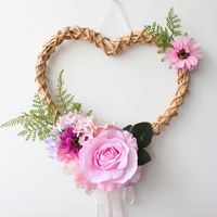 Romantic Heart Shaped Rose Hanging Wreath Flowers Garland with Bamboo & Lace for Home Door Wall Decor Wedding Car Decor Flowers