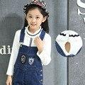 Children's Wear Spring New Girls Render Unlined Upper Garment Long Sleeve T-shirt Kids Clothing White