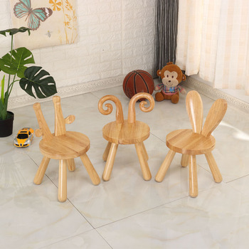 Sedia E Pouf Moderni   Cute Cartoon Sgabello In Legno Massello Piccolo Sgabello Per I Bambini Di Scuola Materna Del Bambino Sedia Di Quercia Sedia Cervo Coniglio Dei Bambini Di Origine Animale Sedia