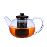 1200ml Glass Flower Teapot Tea Kettle Vintage Coffee Teapot