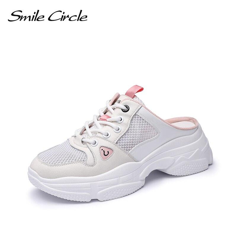 Sourire cercle blanc appartements chaussures à semelles compensées femmes 2019 Printemps été de mode chaussures casual respirantes Simple Paresseux chaussures dames