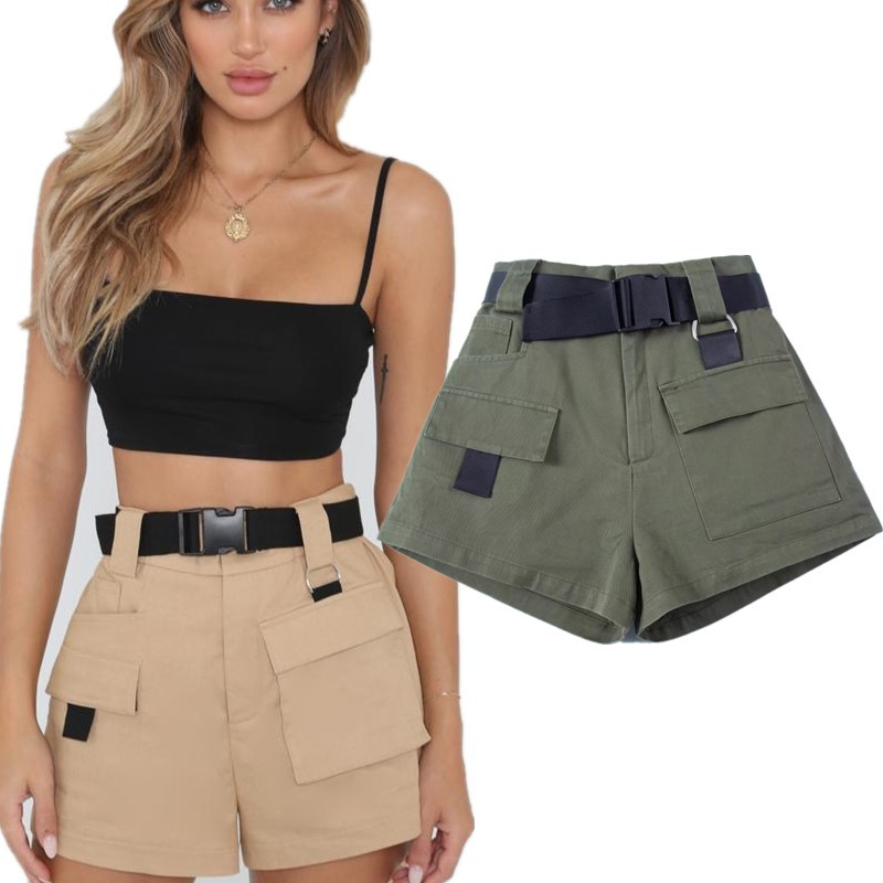 2019 Summer Women's Tooling Casual   Shorts   Fashion Belt Cargo Loose High Waist Pocket   Shorts   Female Harajuku Style Student   Shorts