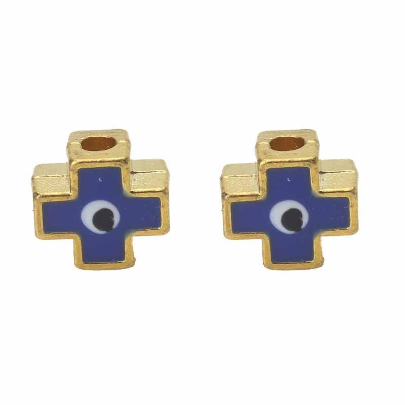 10 Teile/los 8*7mm Bunte Evil Eye Abstand Perlen Legierung Kreuz Charms Loch Perlen Für Armband Halskette Mode Schmuck Zubehör