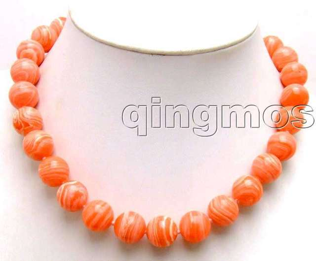 "SALE beautiful Big 14mm Pink round Stripe agate 18"" necklace-nec5713 Wholesale/retail Free ship"