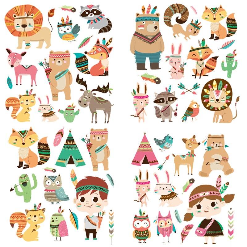 Conjunto de Animal Dos Desenhos Animados Patches Patches de Vestuário das Crianças UM-nível Lavável Appliqued DIY T-shirt Tops de Impressão Da Imprensa do Calor decoração E