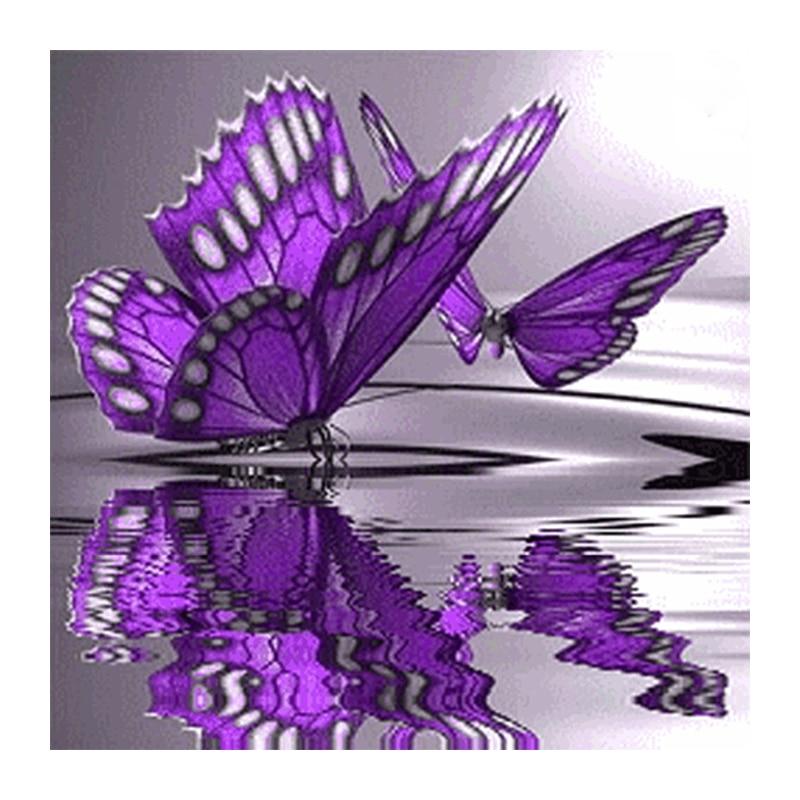 3D Diy Diamond Painting Purple Butterfly On The Water Full Square Rhinestone Handcraft Cross Stitch Diamond Embroidery