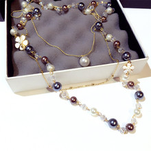 CX-Shirling New Fashion 3 Layers Necklaces Women Siumlated Pearl Flower Sweater Chain Necklace Female Jewelry