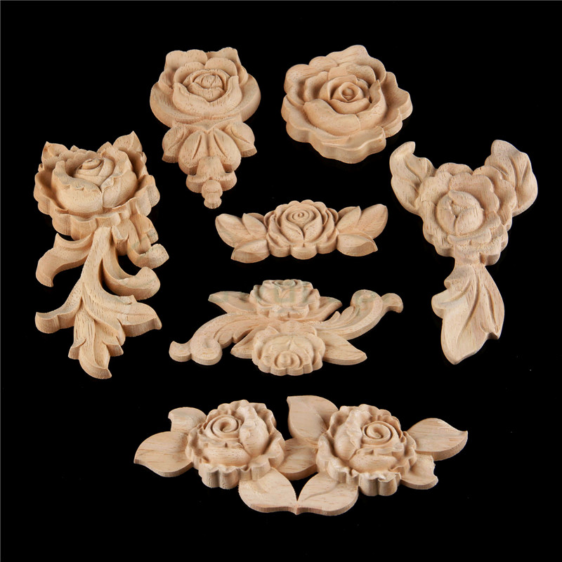 bowarepro Wood Rose flower Carved Decal angle for home cabinet door Decor Crafts Furniture Decorative wooden miniatures 1PCS набор кухонный marvel rose wood 8 предметов