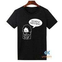 JON SNOW GAME OF THRONES Inspired T Shirt Tee Top Shirts Mens Funny I KNOW NOTHING