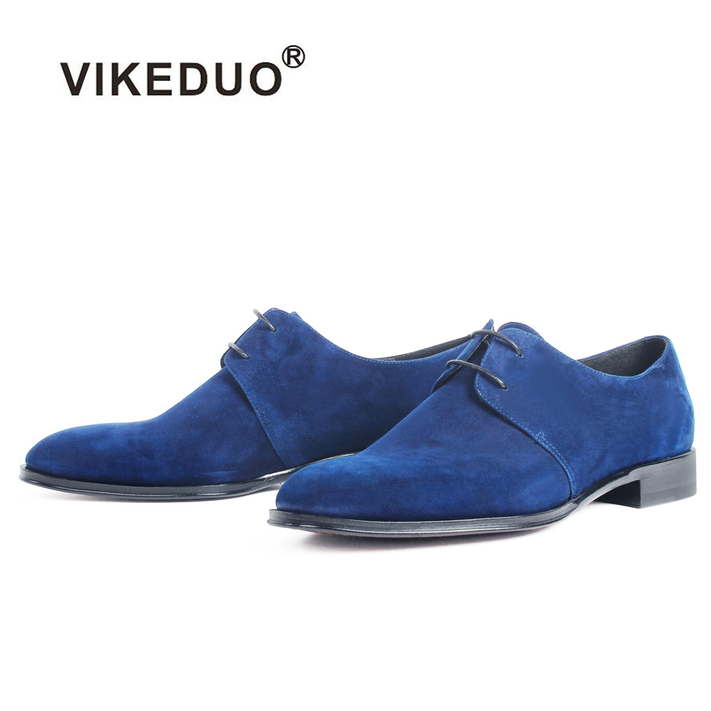 VIKEDUO 2019 Autumn New Men's Derby Shoes Sheep Suede Male Handmade Zapatos Plus Size Blue Casual Lace-up Male Shoe Footwear