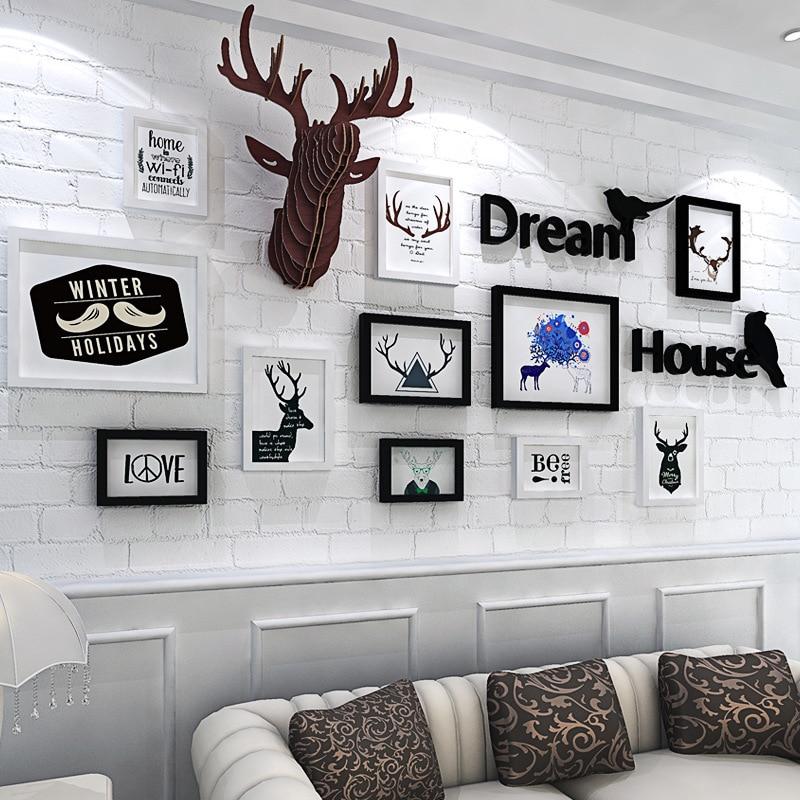 Home Decoration Murals Photo Frame Combination Deer Head Wall ...