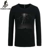 Pioneer Camp 2016 T Shirt Men Long Sleeve Lightning Print Casual Cotton Male Tshirts Slim Elastic