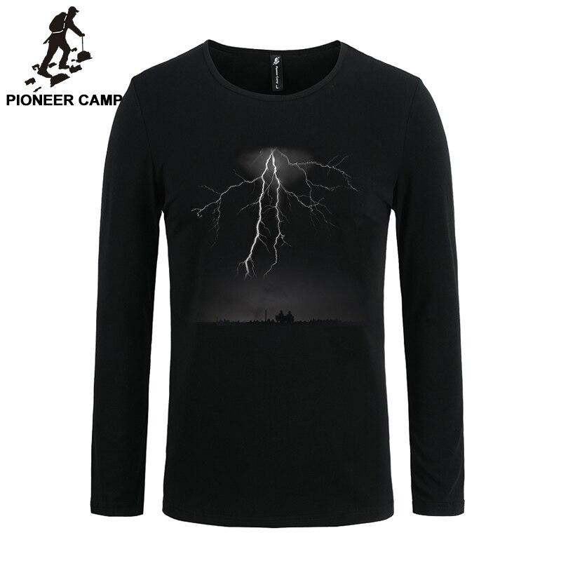 Pioneer Camp 2017 t-shirt hommes manches longues foudre imprimer casual coton mâle t-shirts mince élastique 3D mâle à manches longues T chemise