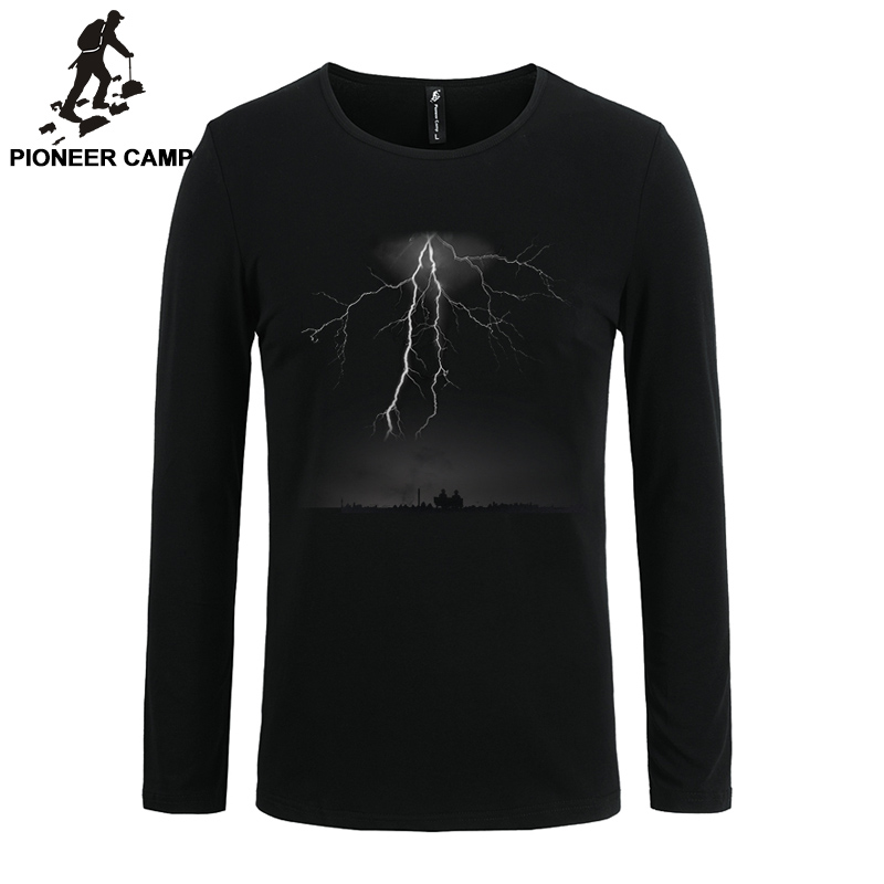 Pioneer Camp 2017 t-shirt men long sleeve lightning print casual cotton male tshirts slim elastic 3D male long sleeve T shirt