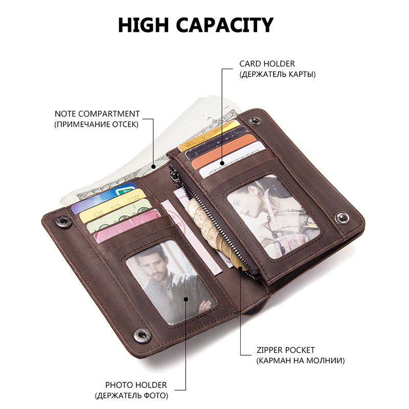 CONTACT'S Men Wallets Brand Design Crazy Horse Genuine Leather Male Short Wallet Hasp Man's Purse With Coin Pockets Card Holders 2