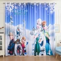 Custom Made 2x Grommet Window Draperies Curtain Nursery Kids Children Room Window Dressing Snow Flake Ice Princess Blue