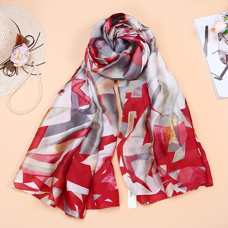 Fashion Women Silk   Scarf   Print Long   Wraps   Beach bandana Soft Shawl Summer   Scarves   Ladies Elegant Foulard   Scarf