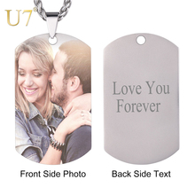 U7 Customized Photo Name Necklaces Free Engrave Army Dog Tags Stainless Steel Pendant Necklace For Women Men Jewelry Gifts N1128