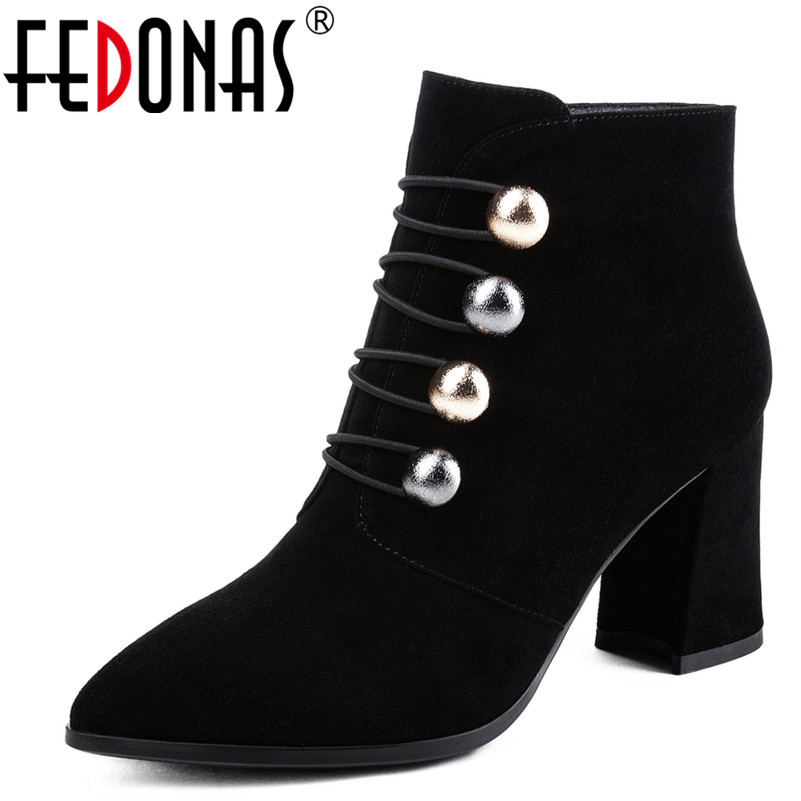FEDONAS 1Fashion Women Ankle Boots Autumn Winter Warm Cow Suede High Heels Shoes Woman Pointed Toe Party Wedding Dancing Pumps цены