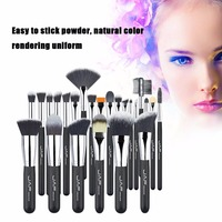 JAF 24pcs Set Professional Women Facial Makeup Brushes Wooden Handle Facial Cosmetic Makeup Soft Synthetic Hair