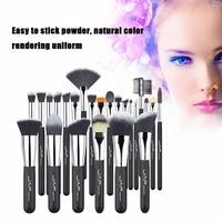 JAF 24pcs Set Professional Women Facial Makeup Brushes Wooden Handle Facial Cosmetic Makeup Soft Synthetic Hair