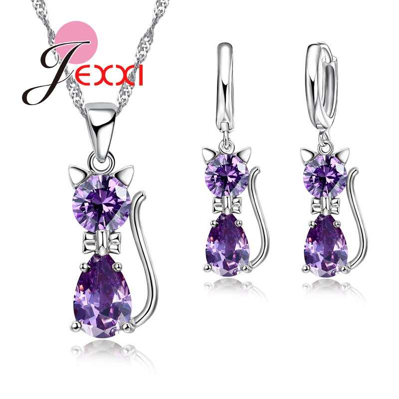 7 Colourful Cubic Zirconia Lovely Cat Shape Pendant Necklace Earrings for Women 925 Sterling Silver Jewelry