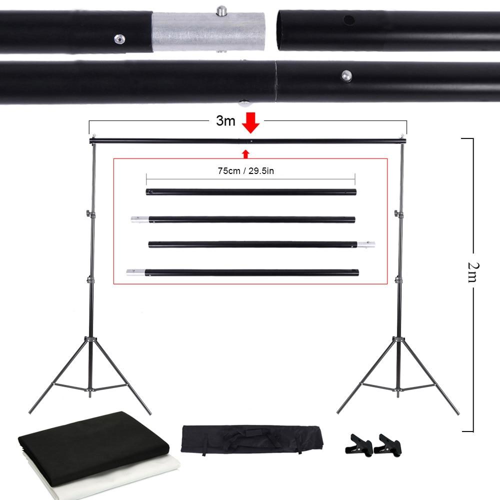 Photo Studio Kit Set Backdrop Stand with Storage Bag Black White Nonwoven Backdrops and Mini Clips