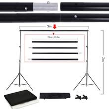 Fotoğraf Stüdyosu Kiti Set saklama çantası ile Siyah Beyaz Nonwoven Arka Planında Zemin Standı ve Mini Klipler