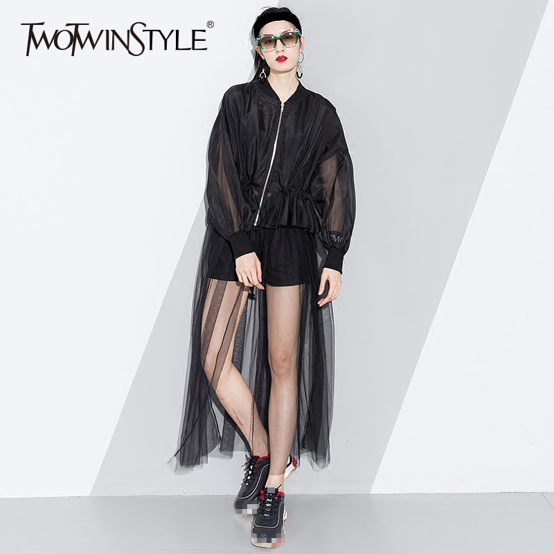 TWOTWINSTYLE Mesh Long Trench Coat Female Patchwork Draw String High Waist Lantern Sleeve Zipper Windbreaker Women 2019 Spring