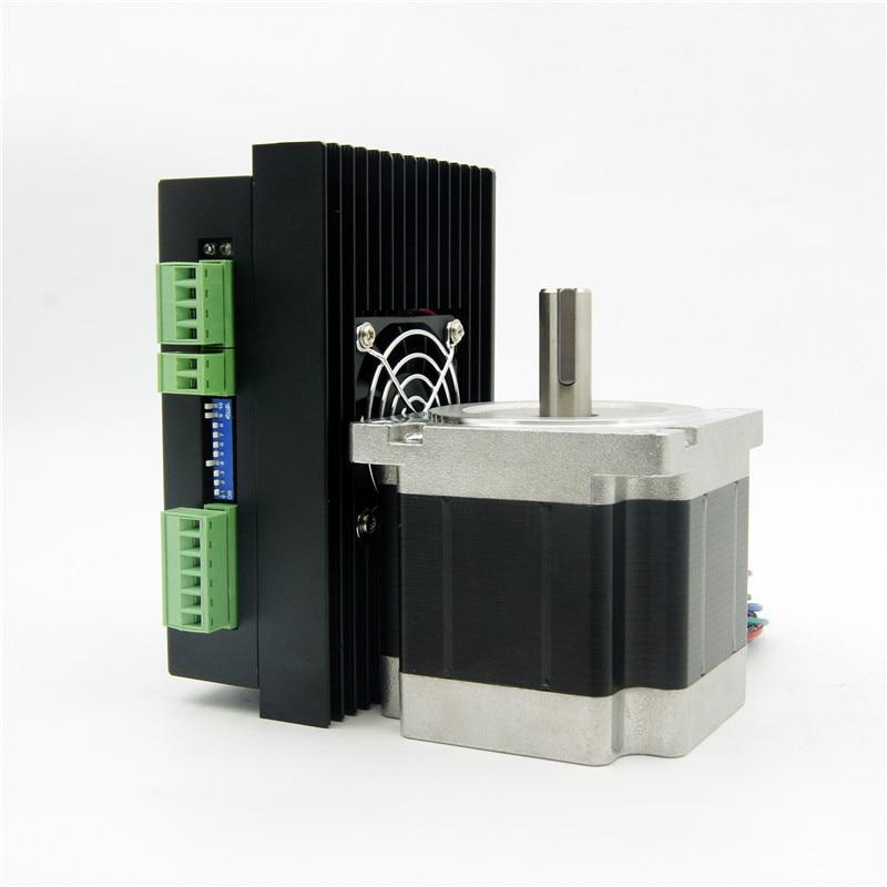 CNC NEMA34 stepper motor J86HB80-04 4 wires 643oz-in shaft diameter 14mm and Driver JB860M AC18-80V/DC24-110V 6.0A 256Micro nema24 3nm 425oz in integrated closed loop stepper motor with driver 36vdc jmc ihss60 36 30