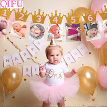 Qifu 1st 誕生日パーティーの装飾好意最初の誕生日バナー旗 1 年間ホオジロガーランドベビーシャワーの装飾少年少女