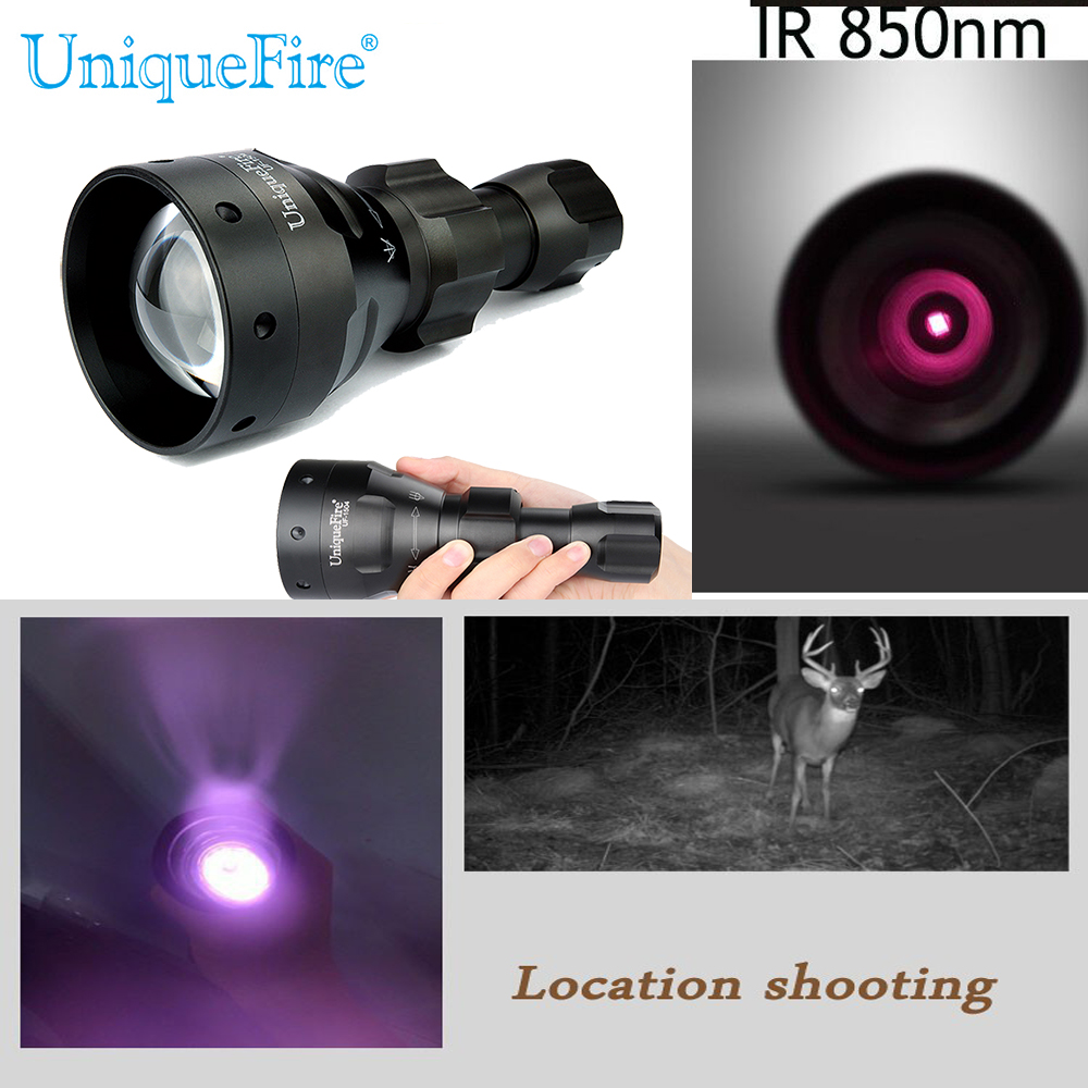 ФОТО UniqueFire 1504-4715S-850nm IR Flashlight Night Vision Torch 3 Modes Zoomable With Memory Function For 18650 Battery