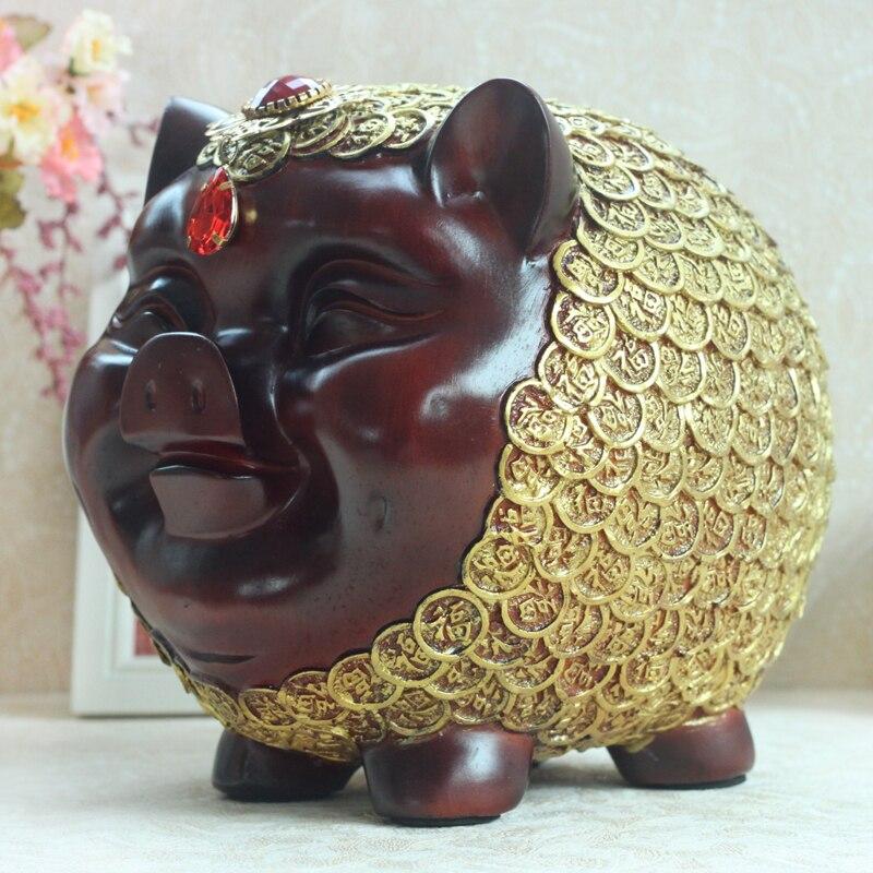 Feng Shui cochon banque en forme de tirelire résine banque de pièces Figurines tirelire économiser de l'argent décor à la maison nouvel an cadeau pour enfants artisanat