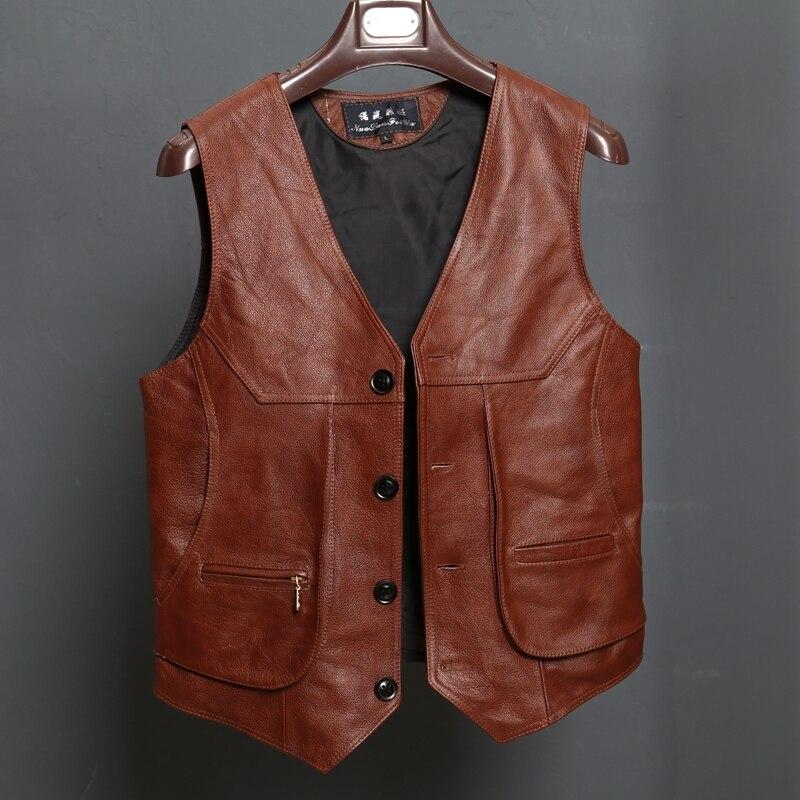 Gilet dark Pockets L Brown Brun Slim Véritable Vest Vache 8xl Red Mens Brown dark Fit En light Cuir Motards Réel Arrivée Bonjean Moto Brown Nouvelle Taille wOCOqS4