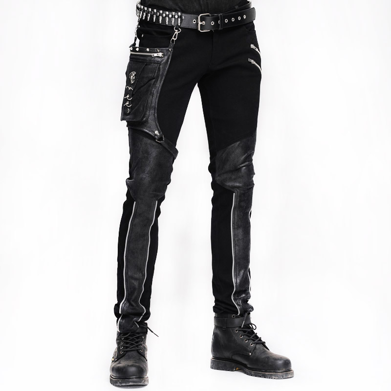 Steampunk Winter Men Long Jean Pantaloni Gothic a vita alta Pantaloni da uomo Pantaloni Black Brown Tights Slimming Streetwear per uomo