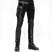 Steampunk Winter Men Long Jean Pants Gothic High Waist Mens Pants Trousers Black Brown Tights Slimming Streetwear For Male