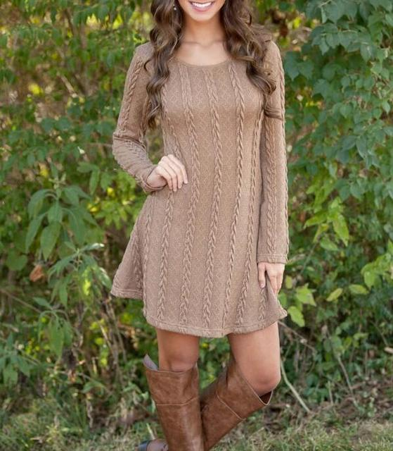Women's Casual Round Neck Knit Sweater Dress