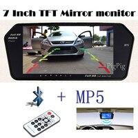 1024x600 Высокая Разрешение 7 дюймов tft ЖК-дисплей заднего вида Мониторы зеркало скрин TF USB Bluetooth MP5 парковка Мониторы Реверсивный приоритет