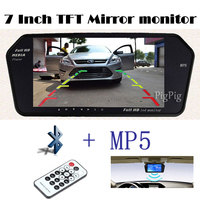 1024x600 High Resolution 7INCH TFT LCD Rearview Monitor Mirror Sreen TF USB Bluetooth MP5 Car Parking