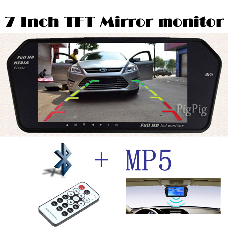 ФОТО 1024x600 High Resolution 7INCH TFT LCD rearview Monitor Mirror Sreen TF USB Bluetooth MP5 Car Parking Monitor reversing priority