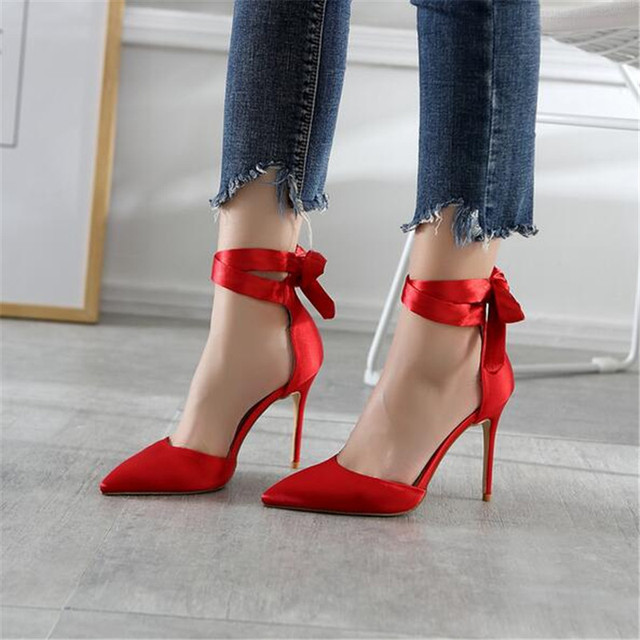 Aliexpress.com : Buy 2017 New Red Pink Silk Women Pumps Pointed ...