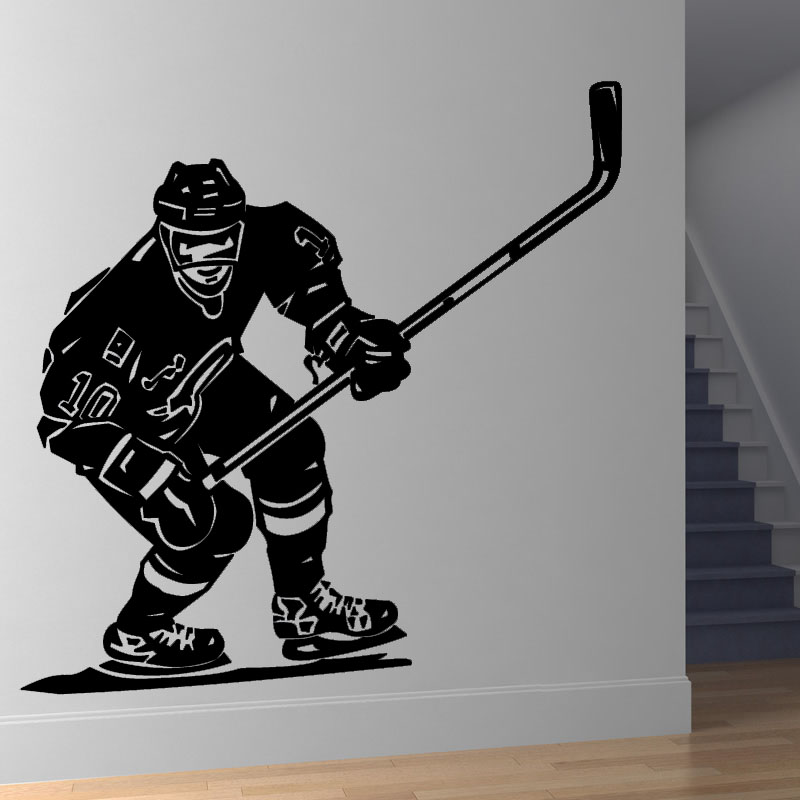 Front Hockey Player Living Room Decorative Wall Sticker Black High Quality  Printed Vinyl Removable Wall Mural Decal
