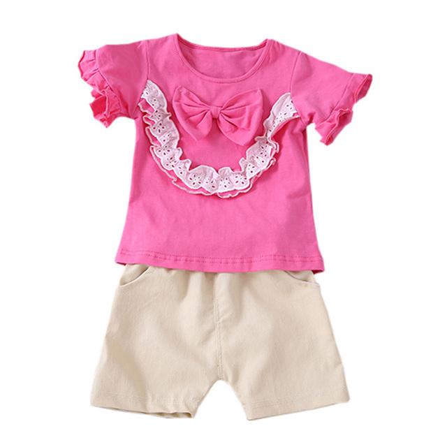 d2b9edcee 2019 Summer Baby Girls Clothes Flare Sleeve Bowknot Design T-shirt Tops  with Lace+Shorts Suits Casual Outfits Sets