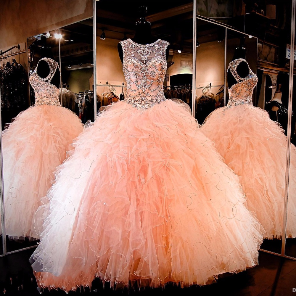 Coral Ball Gown Quinceanera Dress 2019 Vestidos De 15 Beading Ruffle sweet 16 dresses Special Occasion Formal Party Gowns