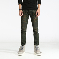 New Distressed Jeans Men Classic Jeans Straight Full Length Casual Slim Elastic Skinny Denim Biker Ripped
