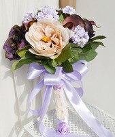 Düğün çiçek gelin tutan çiçekler gül kartopu mor bölümü