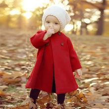 Autumn Winter Girls Clothes Coat For Girl Toddler Kids Baby Girls Outwear Solid Long Sleeve Button Warm Coat Clothes AU29#F(China)