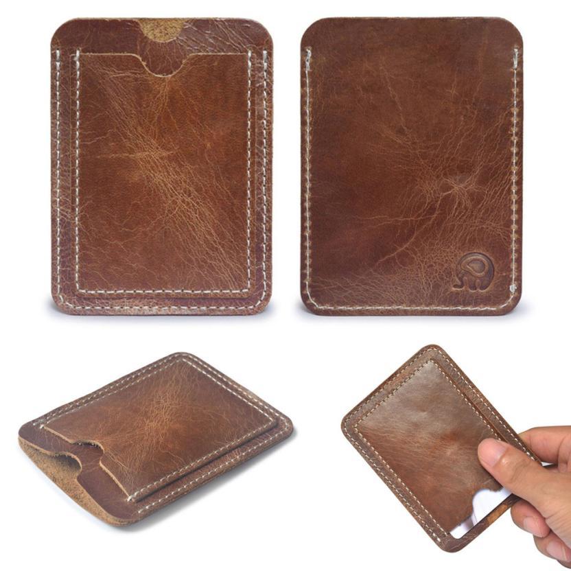 Brown Card Holder Slim Credit Card ID Card Holder Case Bag Wallet Holder #Y excellent elite spanker military vertical id card credit card tactical holder two in one with adjustable
