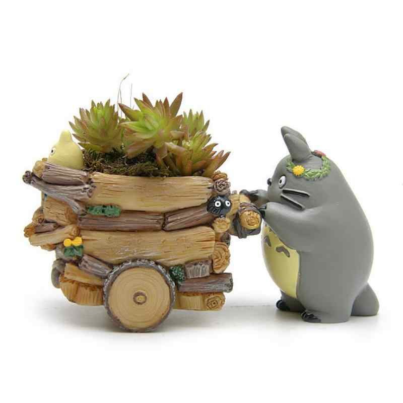 Creative Cartoon Cart Totoro Flowerpot Resin Japanese Miniature Figurines Gift Anime Figurine Ornaments Desktop Decor Home Decor